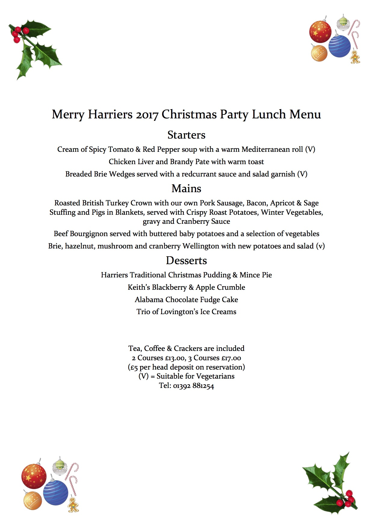 Christmas Party Lunch Menu 2017 PDF