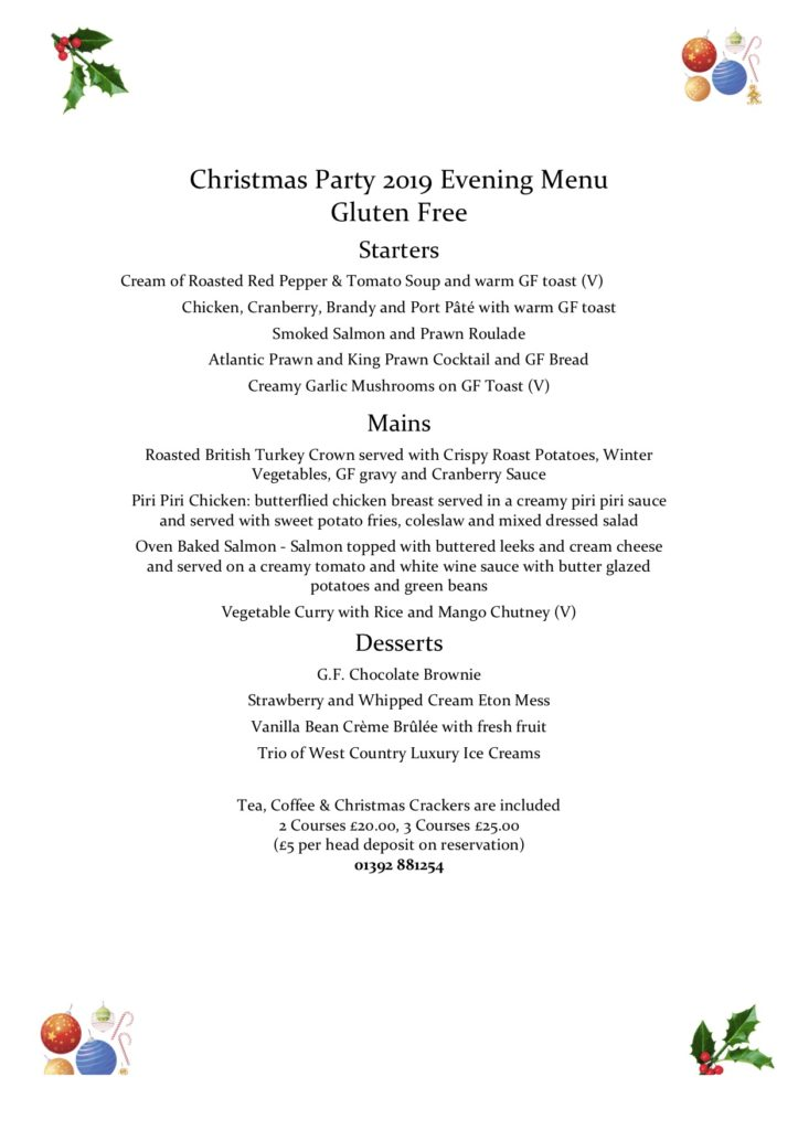 Christmas Party Evening Menu gluten free merry harriers