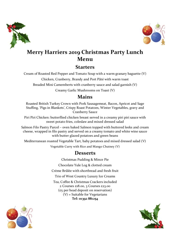 Christmas Party Lunch Menu Merry Harriers