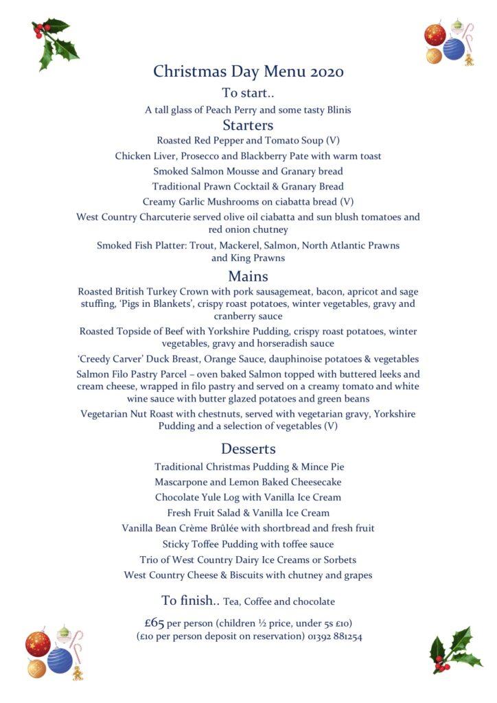 Christmas day menu 2020